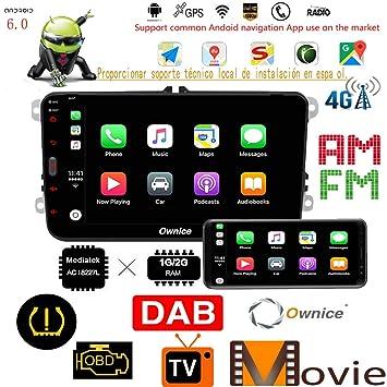 Ownice 8 pulgadas Radio IPS Pantalla Android 8.1(2G+16G) Coche Radio estéreo WIFI BT RDS DAB GPS Navegación dedicada Soporte 4G LTE/TPMS/OBDII ...