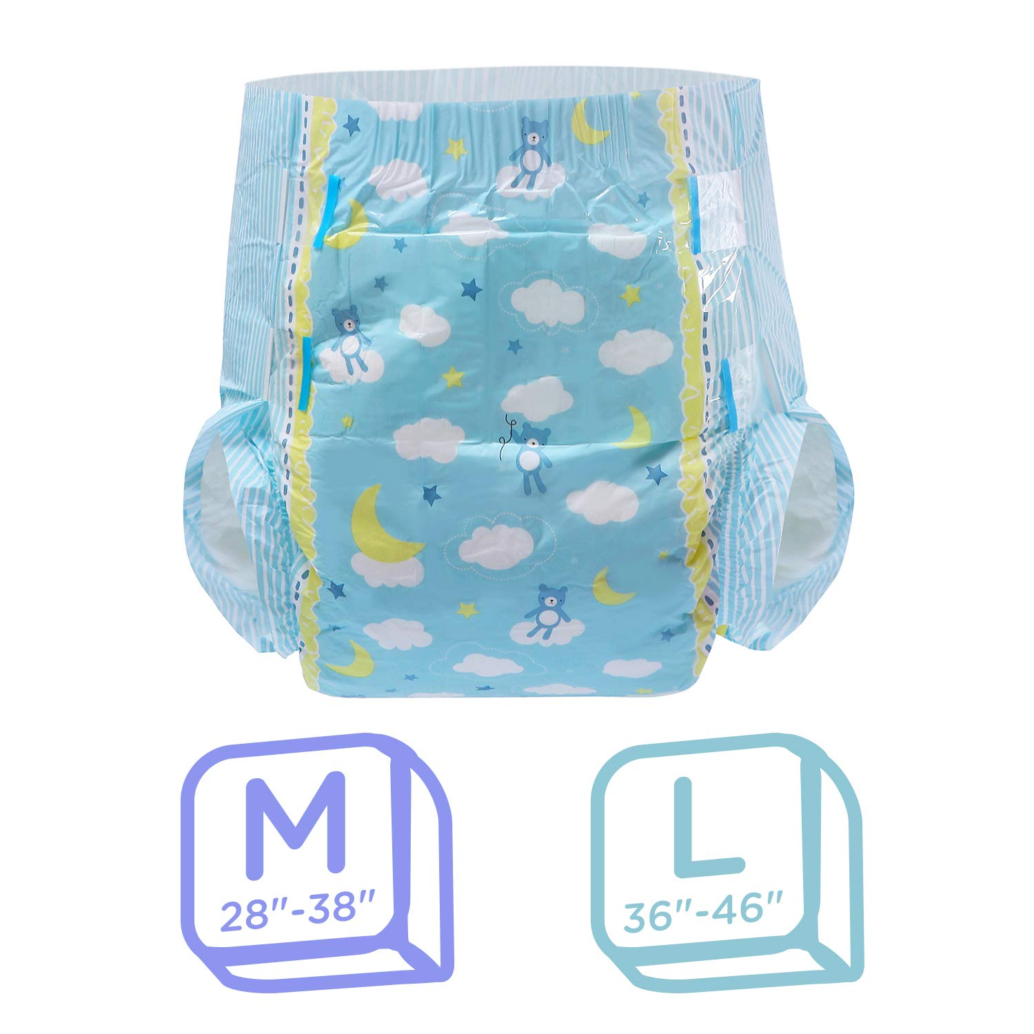 ABDry White Diapers LittleForBig Adult Diaper 10 Pieces Large 36-46
