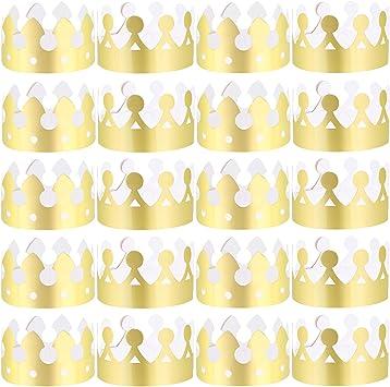 Amazon.com: LOCOLO 30 Piezas Coronas de papel de oro para ...