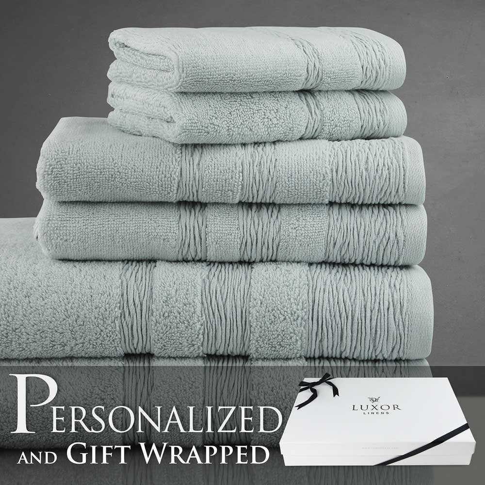 Luxor Linens Prospero Collection Long Staple Mesopotamian Cotton 6-Piece Towel Set - Seaglass - Bride & Groom with Gift Packaging