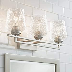 """Conni Modern Wall Light Brushed Nickel Hardwired 22"""" Wide 3-Light Fixture Bubble Glass for Bathroom Vanity Mirror - Possini Euro Design"""