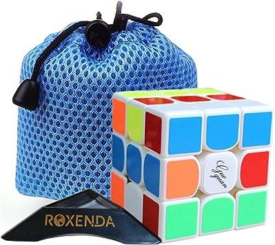 Roxenda Moyu Guoguan Yuexiao 3x3x3 Etiqueta Puzzle cubo mágico cubo de la velocidad (+ una bolsa de cubos) (Blanco): Amazon.es: Juguetes y juegos