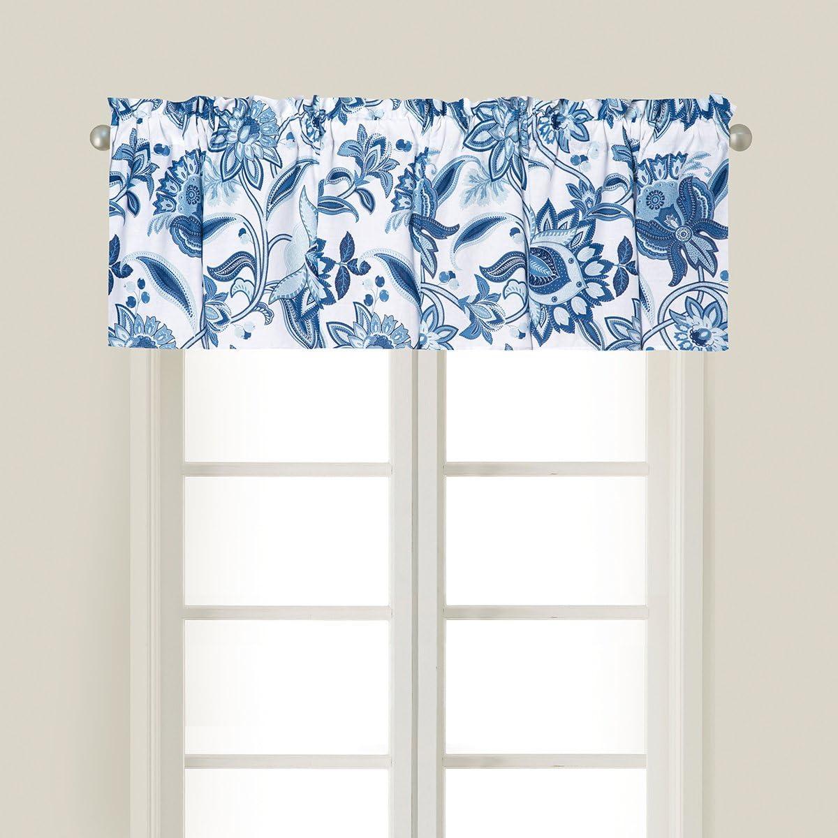 C F Home Julianna Blue Floral Botanical Garden Spring Summer Cotton Bedroom Guestroom Premium Window Valance Set of 2 Valance Set of 2 Blue
