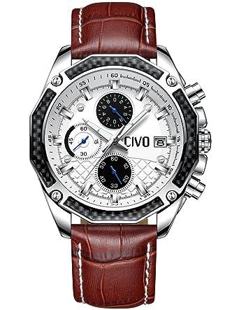 b5705a3c26 [チーヴォ]CIVO 腕時計 メンズレザーウオッチブラウン クロノグラフ防水 日付カレンダーアナログクオーツ