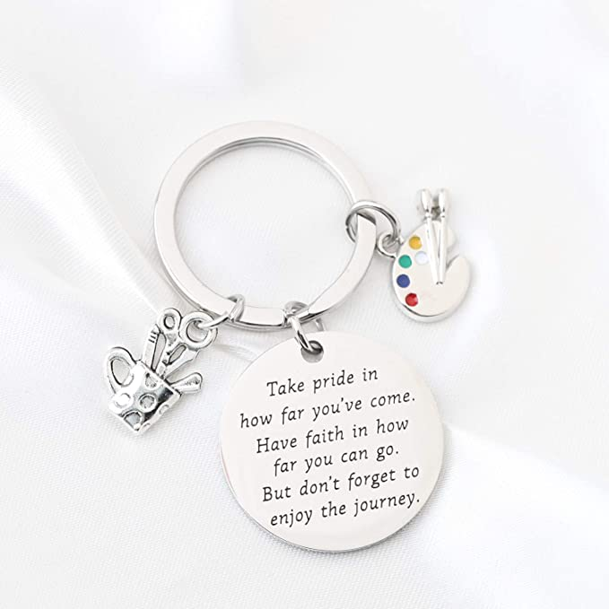 Personalized Initial Artist Gift Keyring Key Chain Life is a great big canvas throw all the paint on it Artist Palette Charm Key Ring