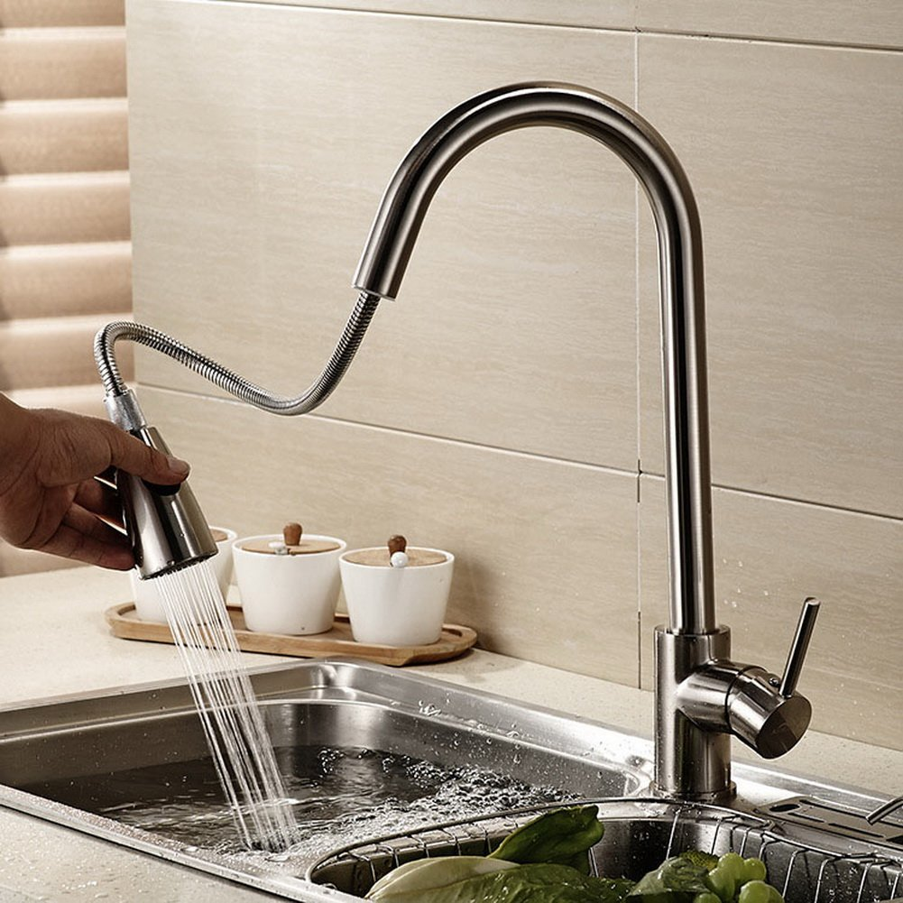 well-wreapped Crazy Cart Stainless Steel Single Handle Pull Down Sprayer Kitchen Faucet, Pull Out Spray Kitchen Sink Faucets