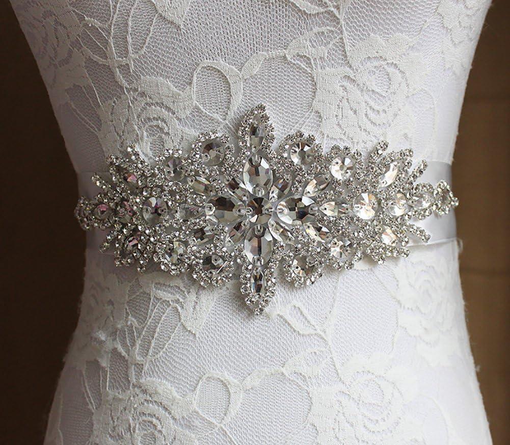 Kentop Raso Nastro Abito da Sposa Cintura Tracolla da Sposa con Strass Accessorio di Abbigliamento gioielleria per Donne 270 4cm Champagne