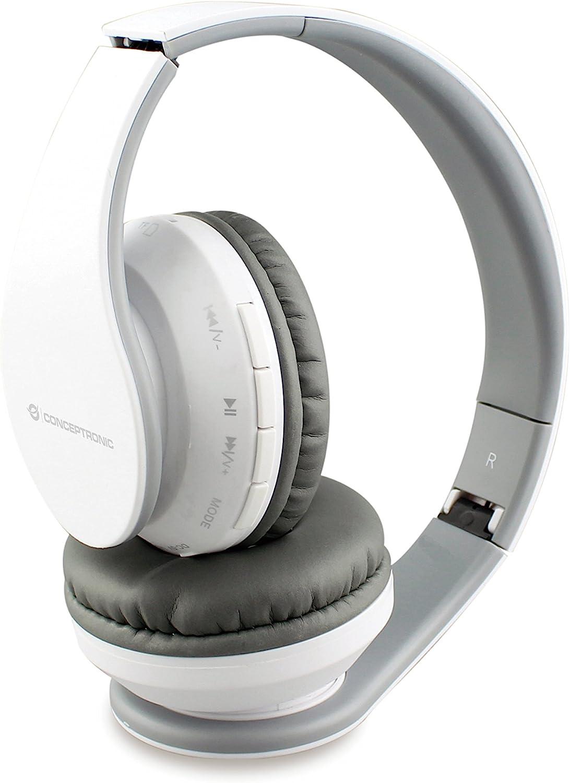 Conceptronic PARRIS01W - Auriculares (Inalámbrico, Diadema, Binaural, Supraaural, 20-20000 Hz, Blanco)