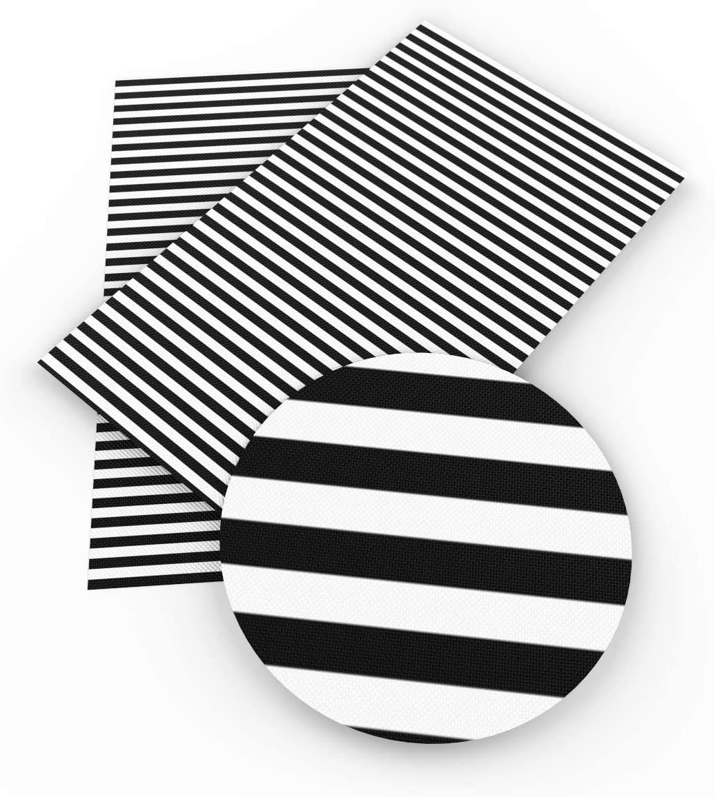 20 cm x 34 cm David Angie Geometric Pattern Printed Glitter Faux Leather Sheet Assorted 6 Pcs 8 x 13 Black White Stripe Synthetic Leather Fabric for Earrings Hair Bow Making Geometric