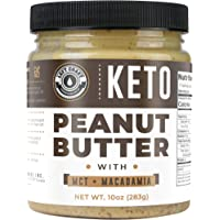 Keto Peanut Butter with Macadamia Nuts and MCT Oil 10oz - [Smooth] Keto Nut Butter Spread | Perfect fat bomb, low carb keto snack (1g net carbs)