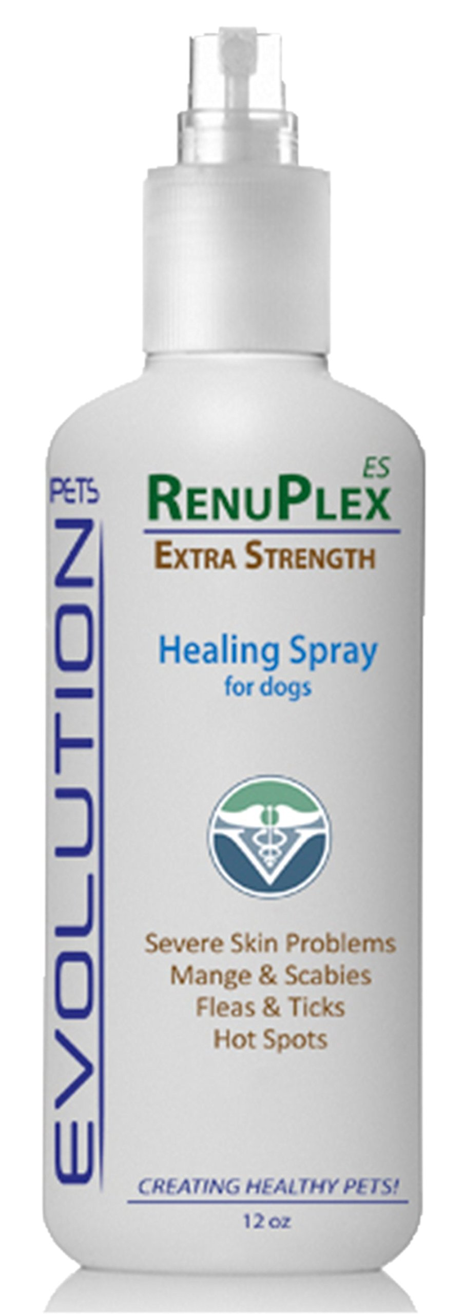 RenuPlex EXTRA Strength Dog Healing Spray for Dog Hot Spots, Mange, Dog Skin Problems Antifungal Dog Hot Spot Spray Also Eliminates Mange, Mites. All Natural. Unconditional Guarantee. Made in USA