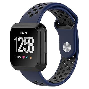 Vandarui para Fitbit Versa Correa,Soft Silicona Deportes Banda de Repuesto de Gel de Sílice Fitness Banda Ajustable para Fitbit Versa (Blue Black): ...