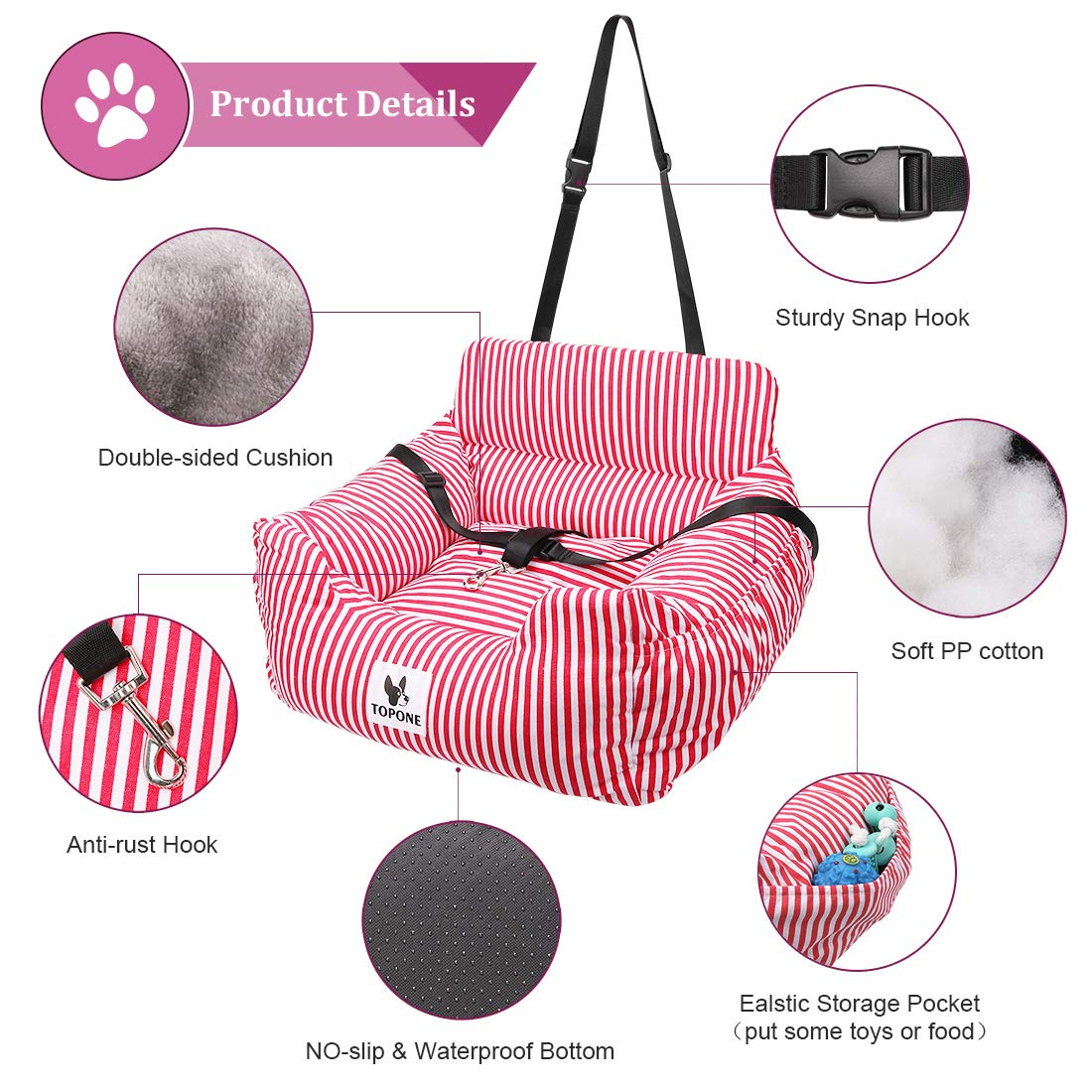 Dog Car Seat,Dog Booster Front Seat for Small and Medium Dogs Cats ...