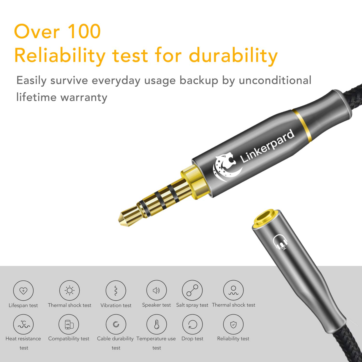 Headphone Splitter 3.5mm Stereo Audio Y Splitter Cable 4-Pole Male to 2-Female Port Audio Stereo Cable Dual Headphone Jack Adapter Strong Braided /& Gold-Plated