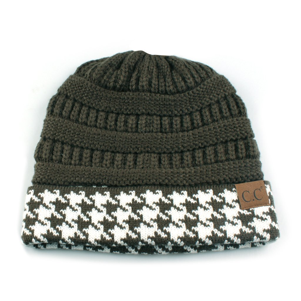 d3b788a284e Hatsandscarf C.C Exclusives Cable Knit Soft Stretch Houndstooth Ribbed Beanie  Hat (HAT-12)