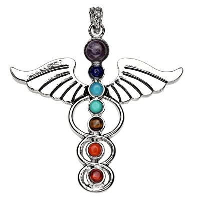 Jovivi 7 chakra stone pendant crystal reiki healing balancing jovivi 7 chakra stone pendant crystal reiki healing balancing angle wings style mozeypictures Image collections