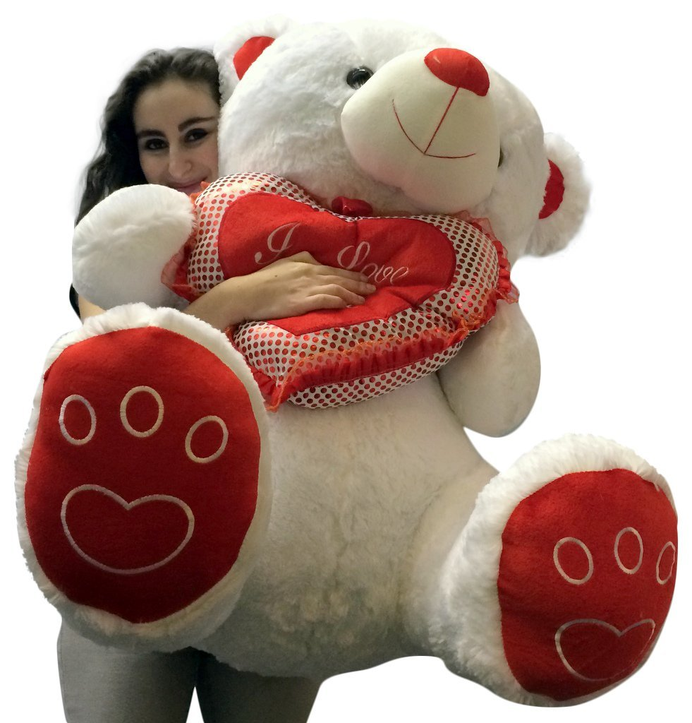 Amazon.com: Giant Valentines Day Teddy Bear Soft White Oversized Plush  Holds I LOVE YOU Heart Pillow: Toys U0026 Games