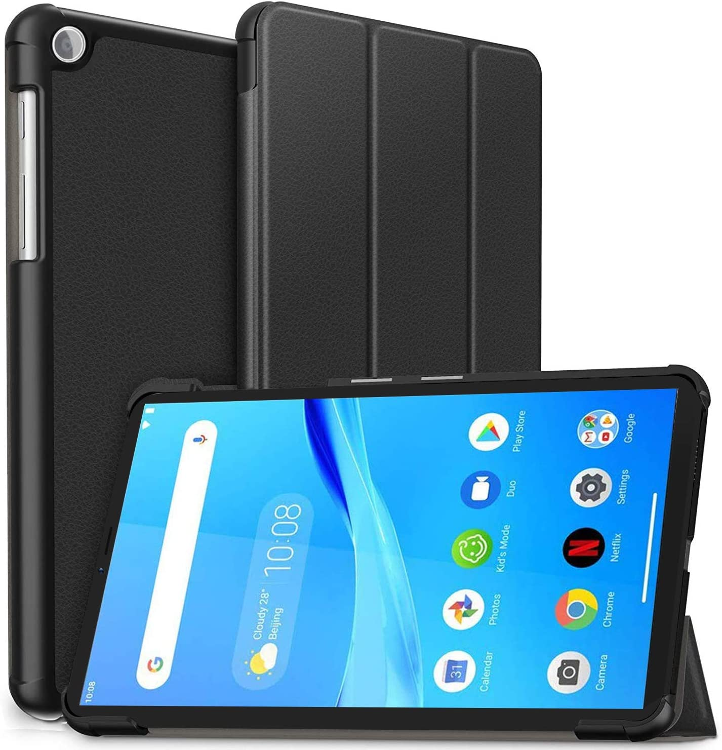 PULEN for Lenovo Tab M7 Case,PU Leather Auto Sleep Wake Function and Multiple Viewing Angles Stand Folio Case Cover (Black)