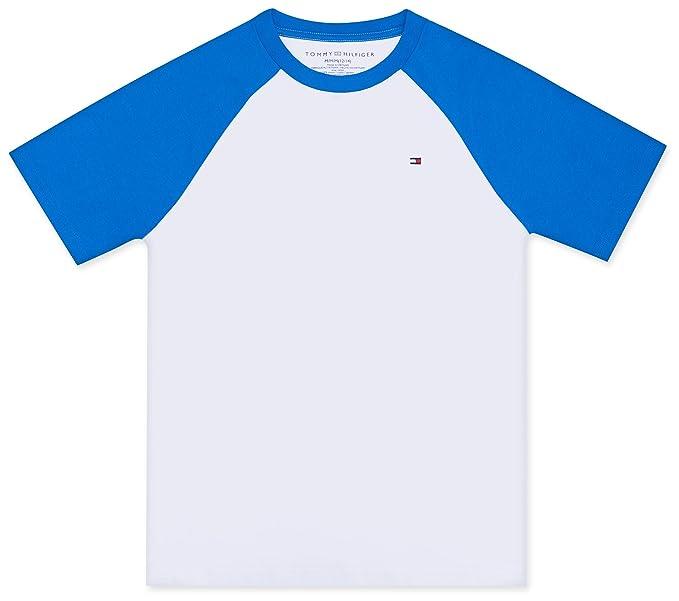 6758db7d Tommy Hilfiger Boys' Toddler Raglan Short Sleeve tee Shirt, Bright White,  ...