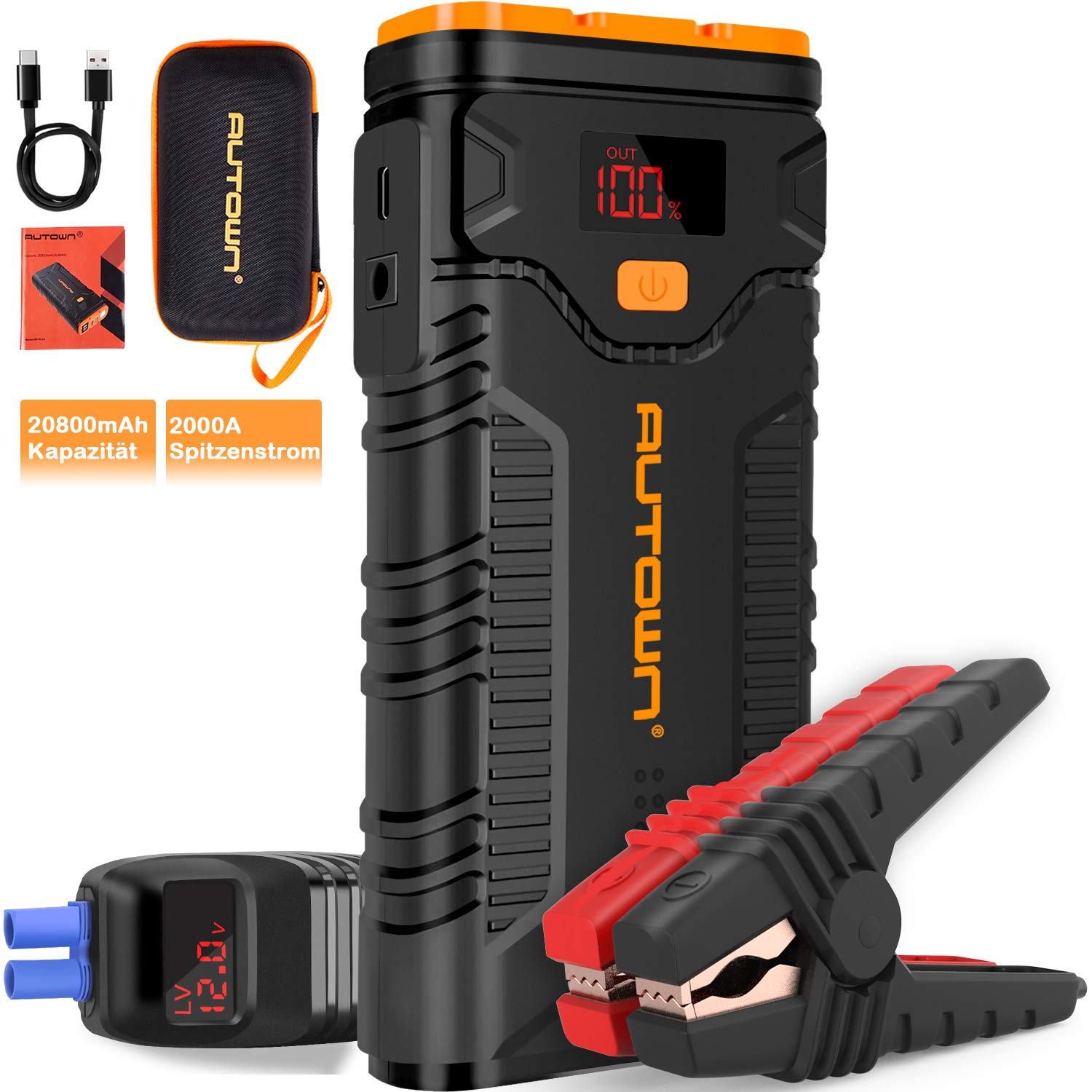 AUTOWN Jump Starter, 2000A Peak 20800mAh Car Jump Starter with Quick Charger, 12V Auto Battery Booster Portable Power Pack with LCD Screen and Type-C Cable