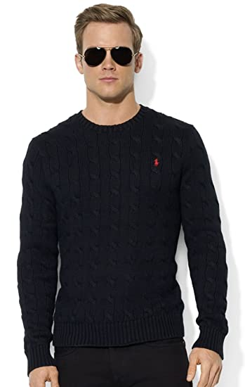 Jumper Lauren Mens Cotton Polo Ralph Cable Roving Crew Neck Sweater m0N8nw