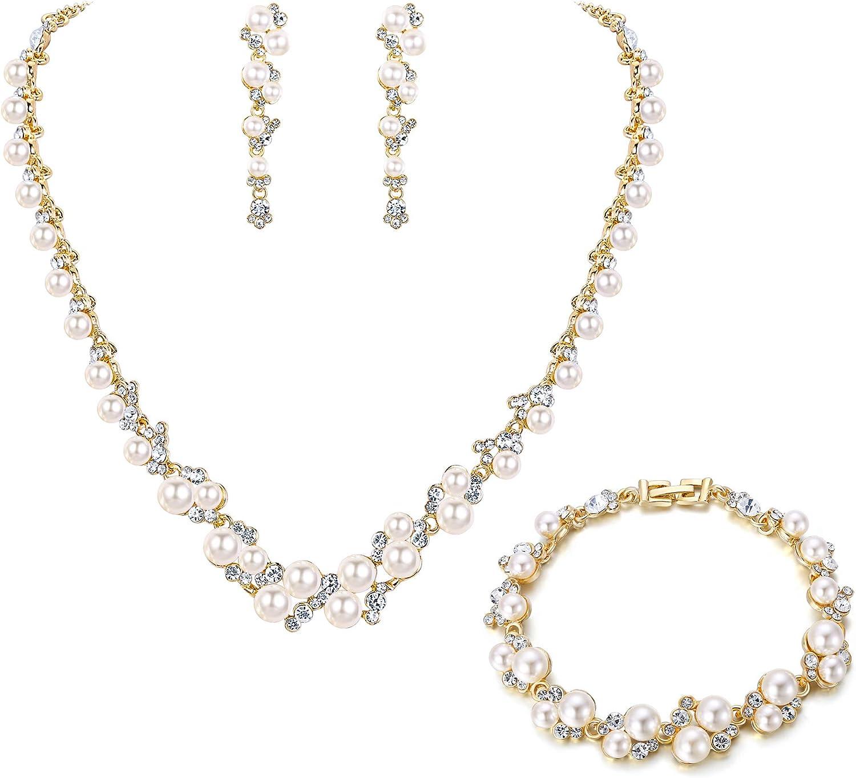 Ever Faith - Juego de collar y pendientes de perlas de imitación de color marfil y cristal para novia, tono oro rosa