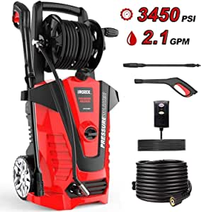 irozce Pressure Washer, 3800PSI 2.0GPM Electric High Power Washer with Hose Reel, Adjustable Spray Nozzle, Detergent Tank for Driveway/Deck/Patio Furniture/Cars