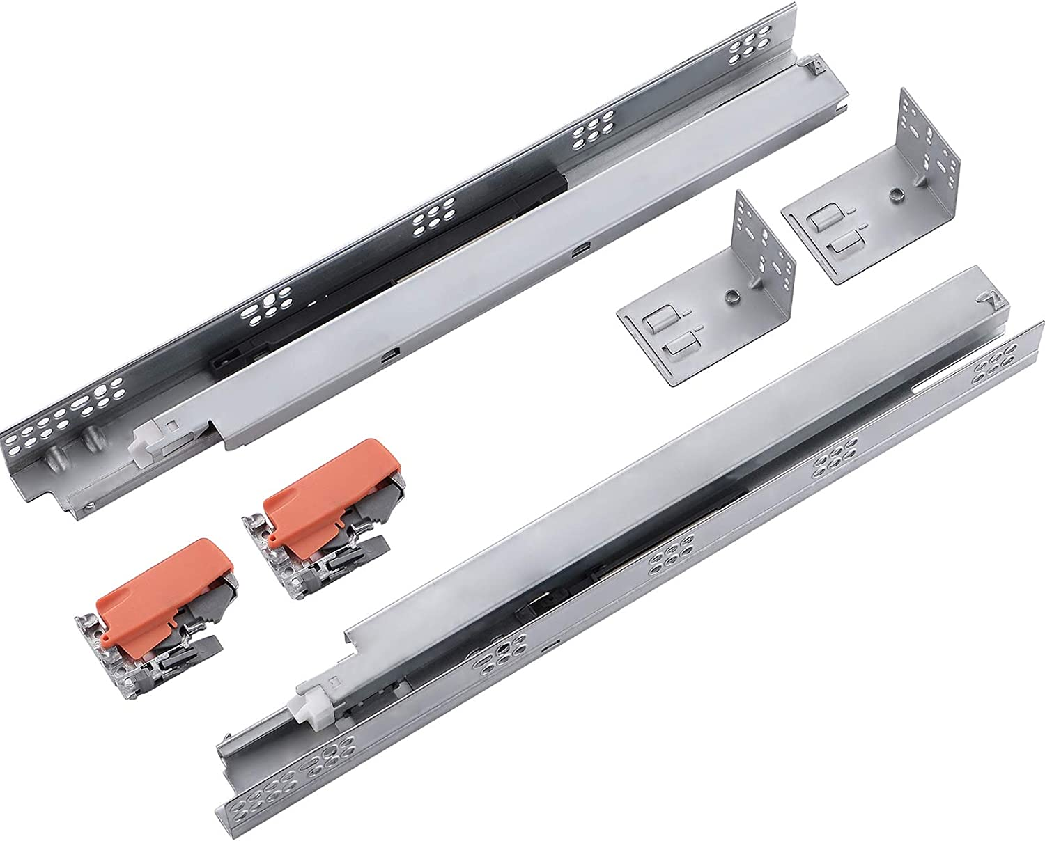 VALISY 2 Pair of 15 Inch Ball Bearing Full Extension Soft Close Undermount Drawer Slides, Bottom Mount Slow Self Closing Cabinet Metal Drawer Rails with Runner, Locking Device, Back Bracket and Screws