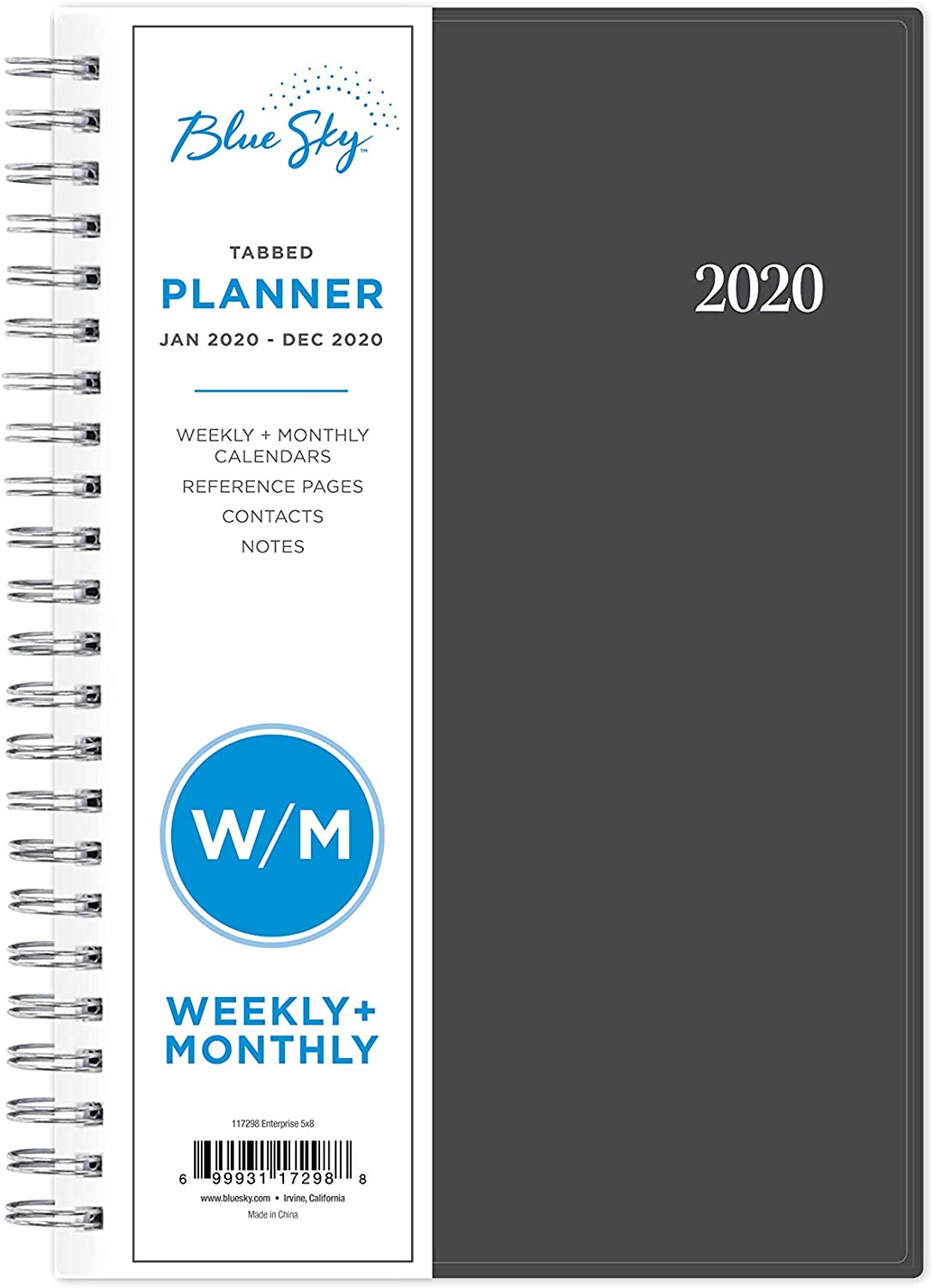 5 x 8 Gray 21 Notes Pages Academic Weekly /& Monthly Planner 2020 Diary Flexible Cover,12 Monthly Tabs Twin-Wire Binding with Two-Sided Inner Pocket