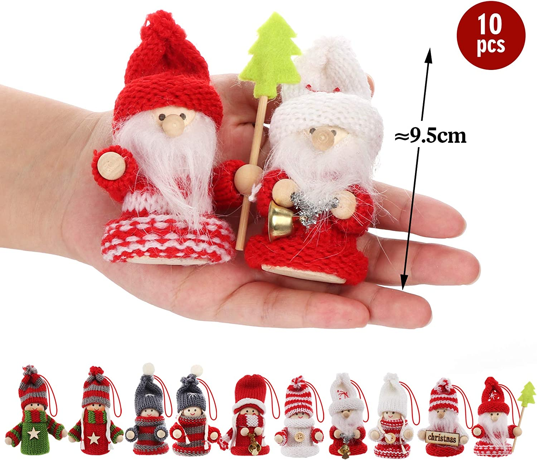 Adorfine 10-teiliges Weihnachtswichtel Set Bunt Weihnachtsmann aus Holz und Strick Baumanh/änger Weihnachtsanh/änger mit Geschenkbox f/ür den Weihnachtsbaum Weihnachtsschmuck oder Geschenk Anh/änger