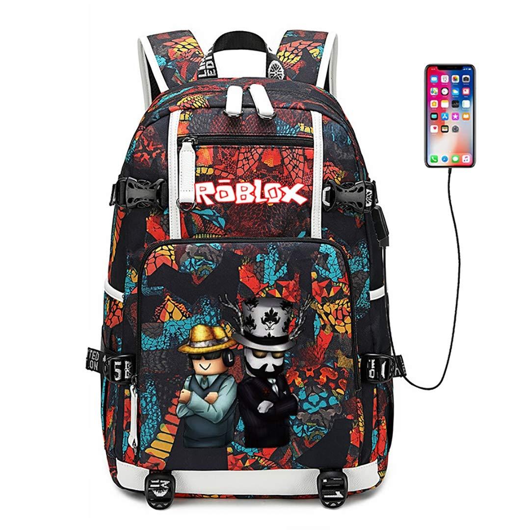 LEE BAGGOS Cartoon Laptop Backpack with USB Charging Port Anime Water Resistant School Travel Bag Case Unisex Rucksack Lightweight Theft Shoulder Daypack Durable Bookbag for Women Men Student,F by LEE BAGGOS