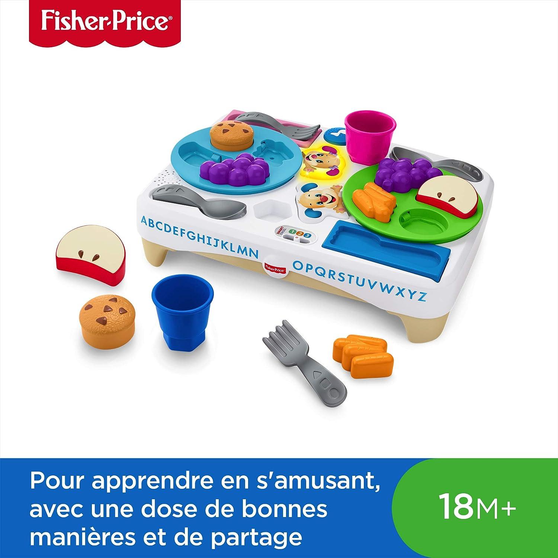Fisher-Price Table d'Activité Petit Déjeuner Puppy avec Sons et Lumières, pour Apprendre à Bébé les Aliments et le Partage, 18 Mois et Plus, FBN18