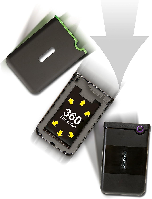 Disco Duro Externo de 2 TB con Protecci/ón Antigolpes Color Gris Hierro USB 3.1 Gen 1 cable USB tipo C Transcend StoreJet 25MC