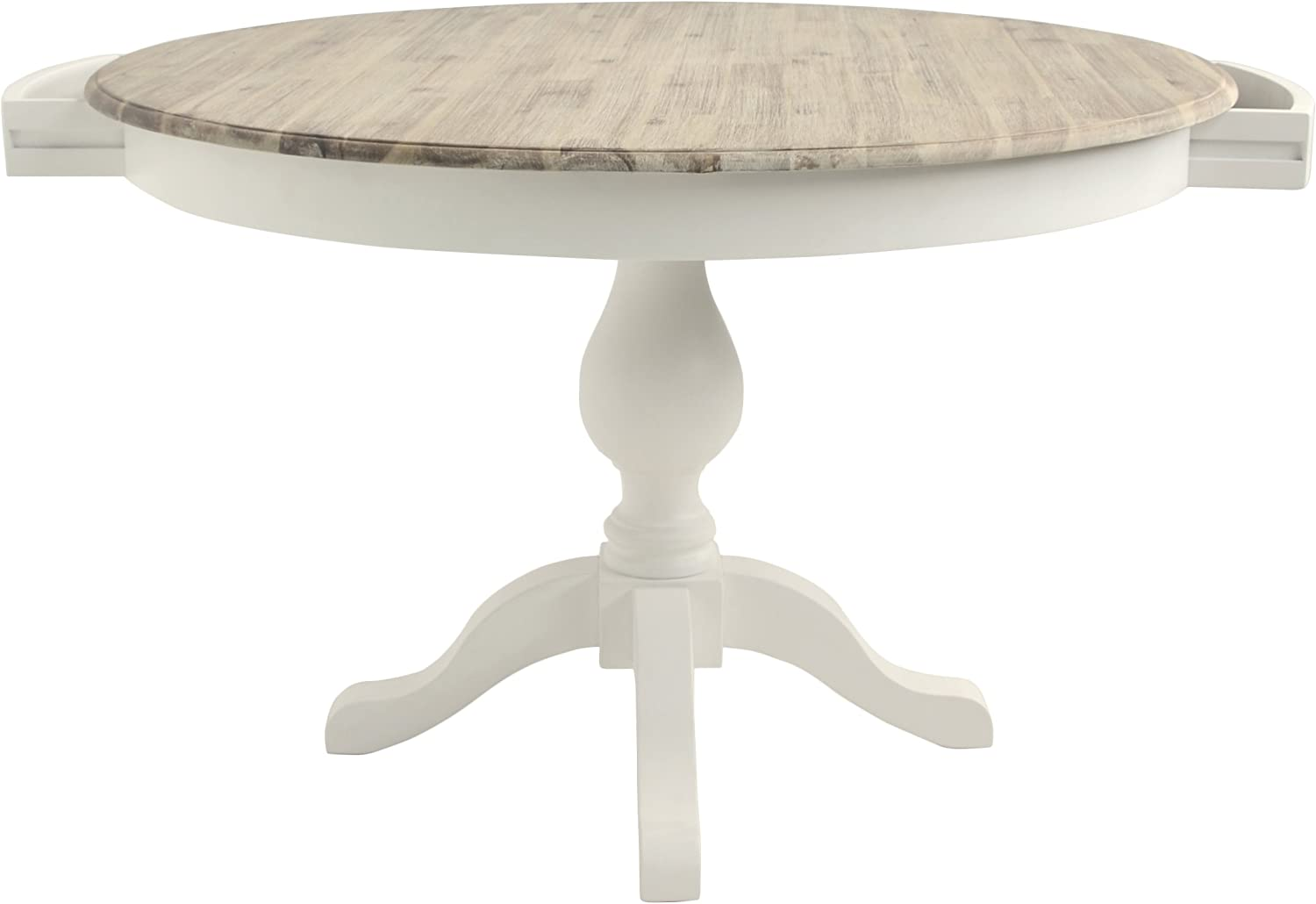 Florence Large Round Pedestal Table with Thick limed Wooden top and Two Drawers in Navy Blue White