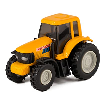 Metal Toy Tractors >> Yellow Die Cast Metal Farm Tractor Toy With Pull Back Action