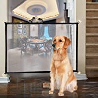 Magic Gate Pet Gate for Dogs Portable Mesh Folding Safety Fence Pet Isolation Mesh Dog Gate for House Indoor Stair Doorway Use (43 x 29 in Black)