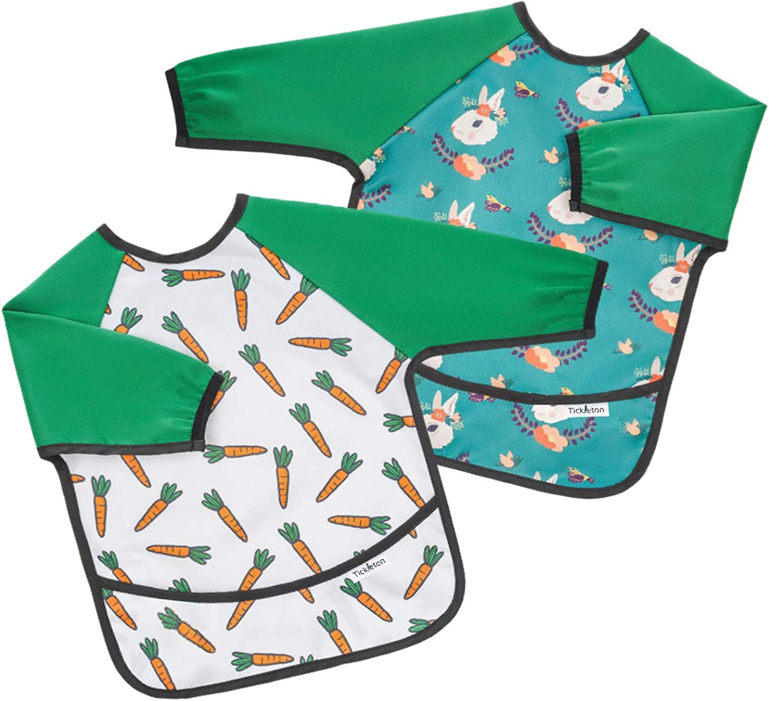 Tickleton Waterproof Long Sleeve Bibs for Babies 2 pcs │Baby Smock for Eating with Pocket for 6-24 Months │Baby Led Weaning Supplies │Machine Washable │Lightweight │Cute Unisex Designs