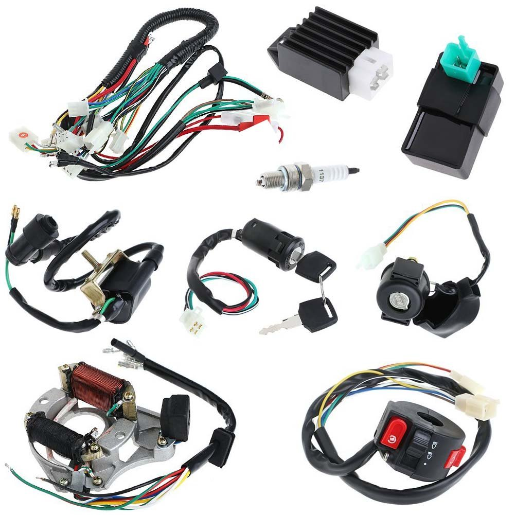 Annpee Full Electrics Coil Cdi Wiring Harness Loom Kit Baja 49cc Diagram Magneto Kick Start Engine For 50cc 70cc 90cc 110cc 125cc Atv Quad Bike Buggy Go