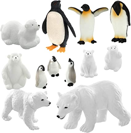 TMORU Polar Animal Toy Figurines Educational Preschool Birthday Gift Cake Toppers for Kids Realistic Penguin Figurines Set of 6