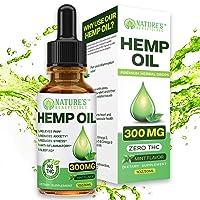 Organic Hemp Oil Extract Drops 300mg - Ultra Premium Pain Relief Anti-Inflammatory...