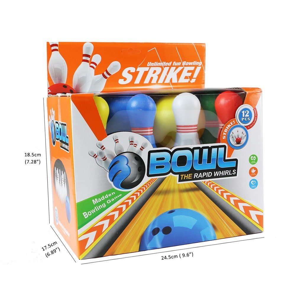 Bowling Ball Games Timeless Funny Kit Set with 10 Mini Plastic Pins and 2 Balls,Educative Toy Great Gift for Baby Kids Toddlers Boys Girls 2 3 4 5 Years (12Pcs),yoptote