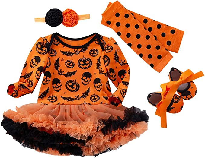 Tutu Dress Huarll Baby Girl Halloween Costume 3pc Outfit Set Long Sleeved Pumkpin Romper Headband for Toddler