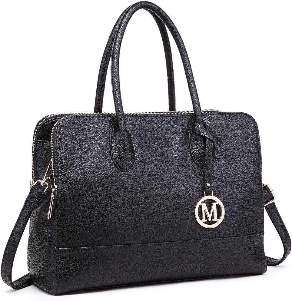 Miss LuLu Aktentasche Handtasche Laptoptasche Arbeitstasche Schultertasche Messenger Bag Retro Elegant Damen (LT1726-Schwarz): Amazon.de: Koffer -