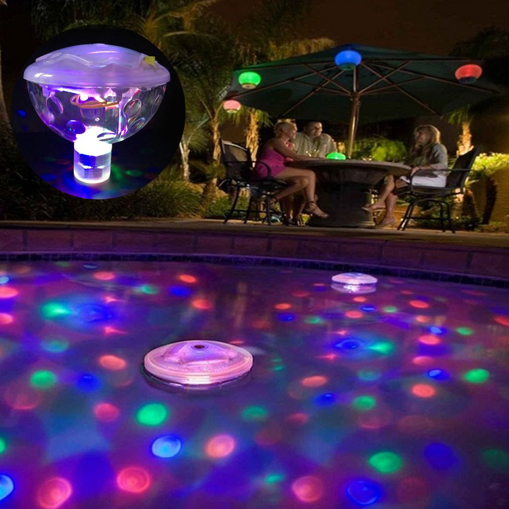Dyda6 Luz de ba/ño LED Sumergible luz Intermitente RGB para ba/ñeras Tama/ño Libre estanques Fiestas Funciona con Pilas Discoteca para Piscina Impermeable Piscinas Flotante