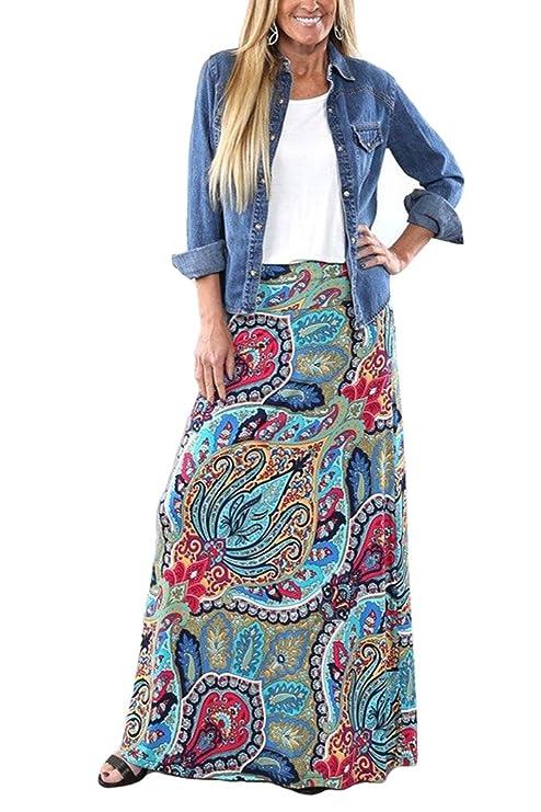 60s Skirts | 70s Hippie Skirts, Jumper Dresses Yinggeli Womens Bohemian Print Long Maxi Skirt $17.99 AT vintagedancer.com