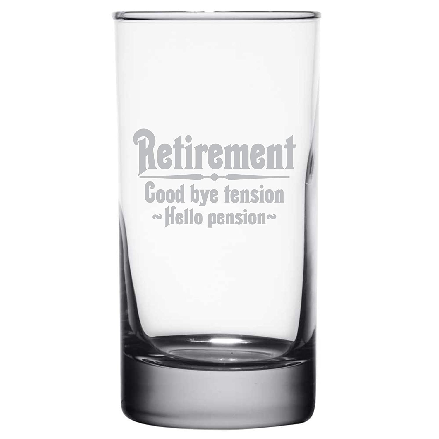 Retirement Gift Highball Rocks Glass for Men Goodbye Tension HBG16 Frederick Engraving Hello Pension Etched 9 oz Whiskey or Scotch Glass