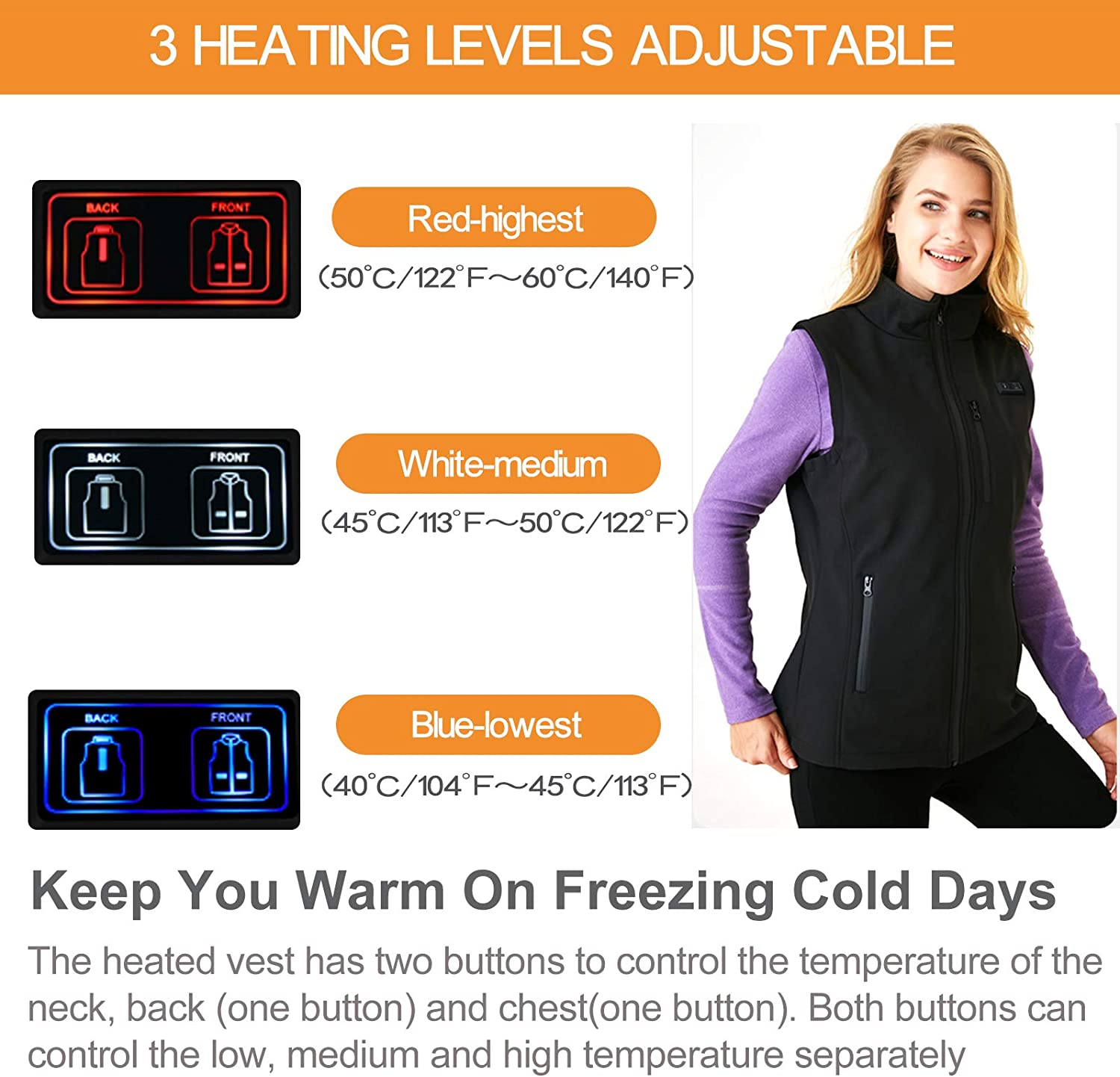 Apasiri Heated Vest for Women Electric USB Body Warmer Lightweight Heating Clothes Jacket Gilet Washable with 3 Temperature for Motorcycle Skiing Camping NO POWER BANK
