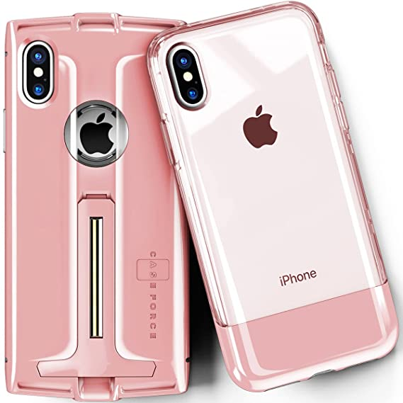 low cost fe0fe 839f4 CASE FORCE iPhone X Case Clear Best Cute for Girls Women Men,Kickstand  Heavy Duty Military Grade Drop Protection,Wireless Charging Compatible,2 ...
