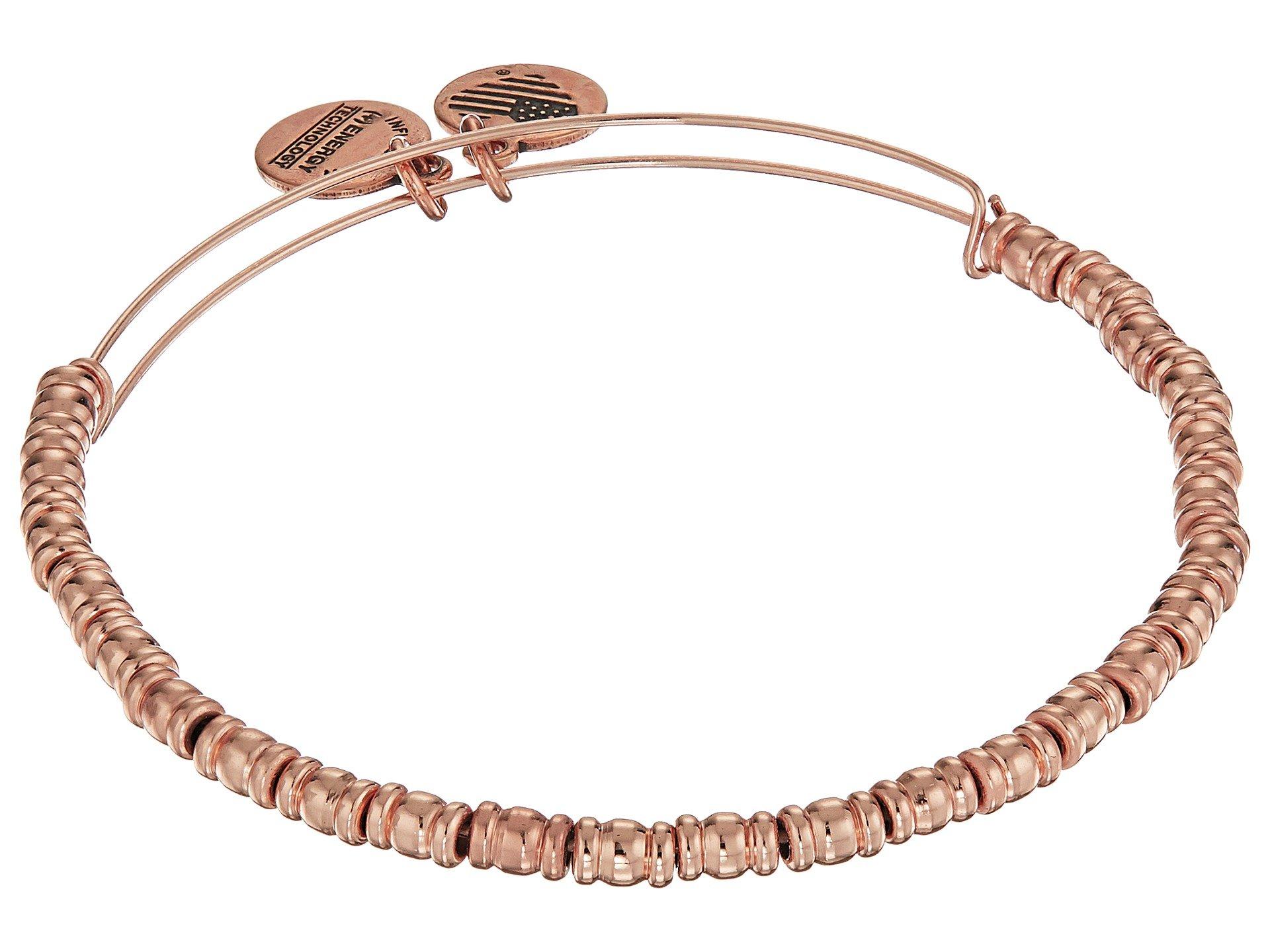 Alex and Ani Women's Rocker Bangle Bracelet, Shiny Rose Gold