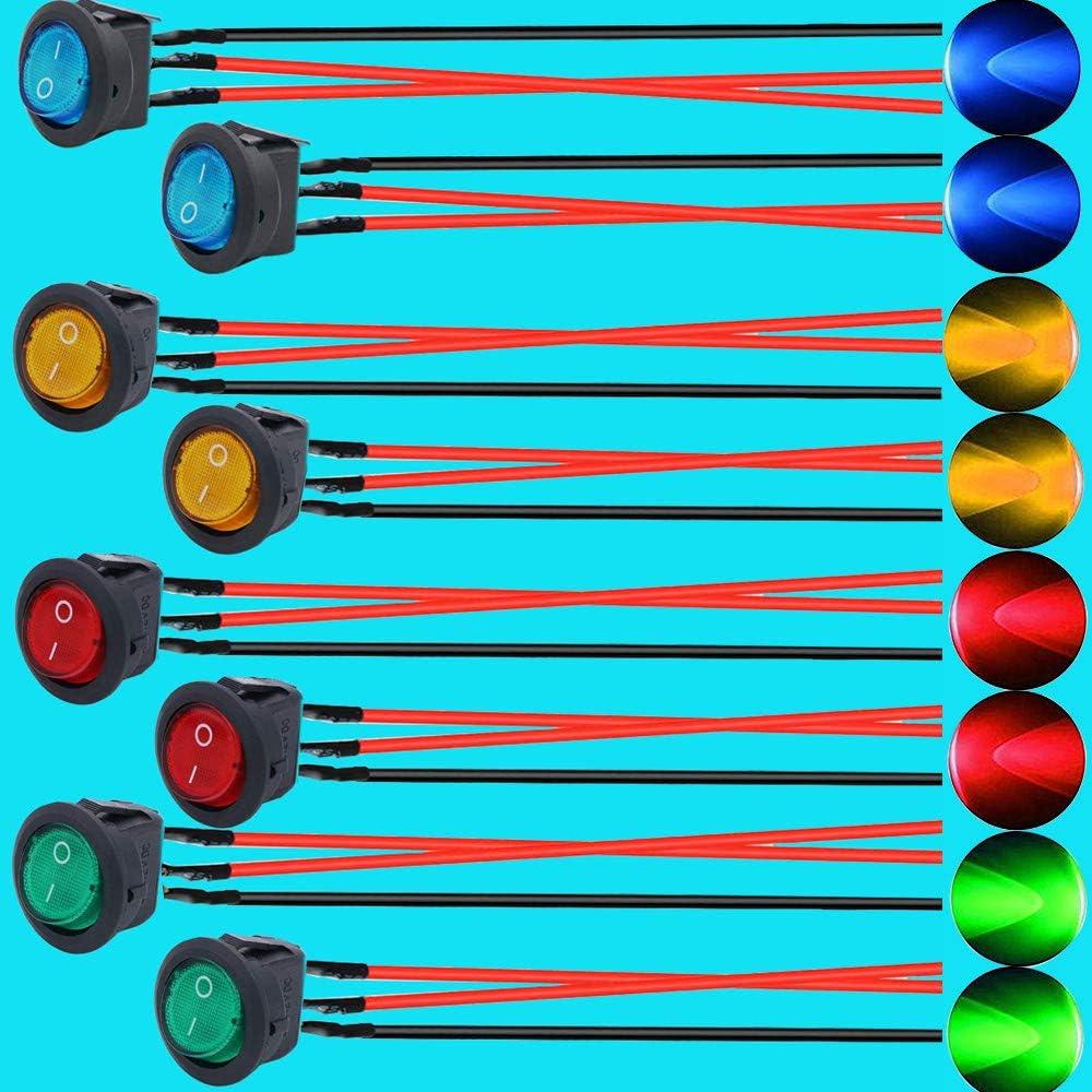 RUNCCI-YUN 8 St/ücke LED Wippschalter,Kippschalter 12v,Runde Wippschalter,kfz Wippschalter,SPST Switch 12V,taster Round f/ür Auto Boot Lastwagen Trailer KFZ mit Kabel )